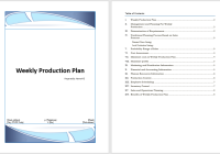 Weekly Production Plan