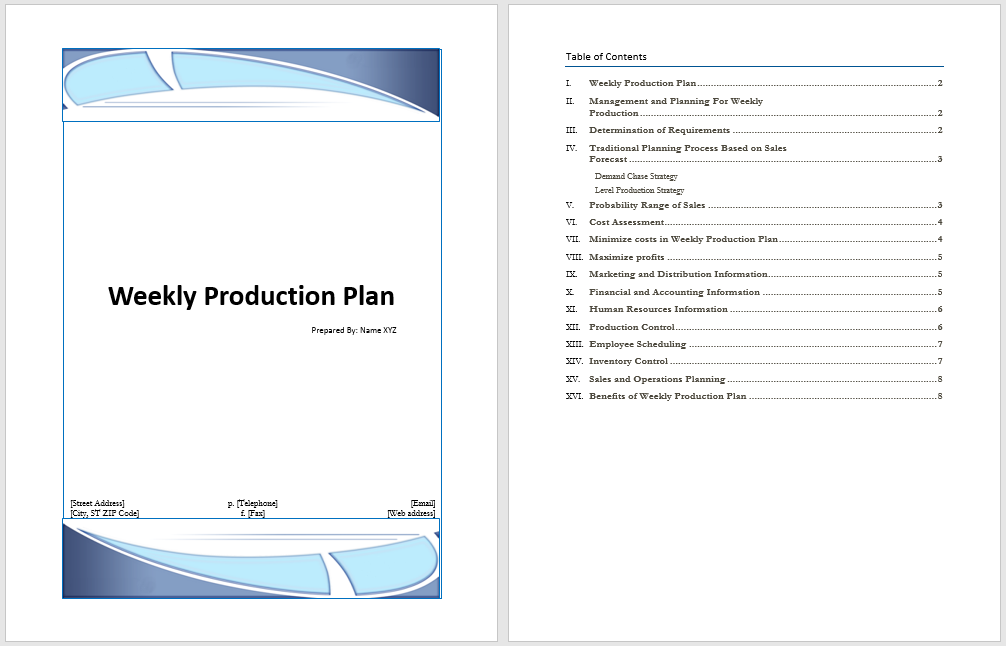 Weekly Production Plan Template | Microsoft Word Templates