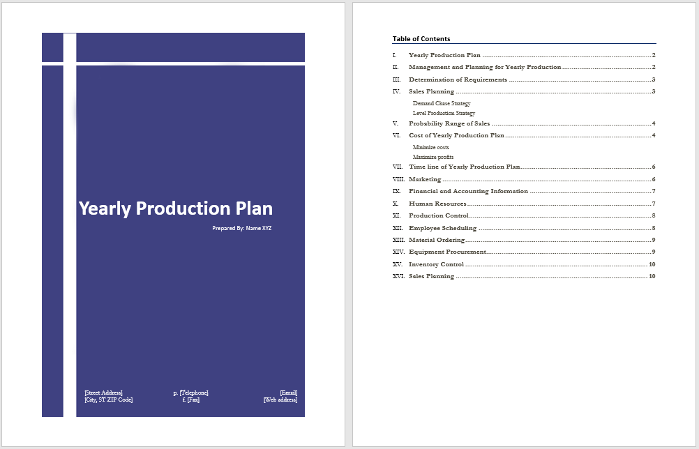 Yearly Production Plan
