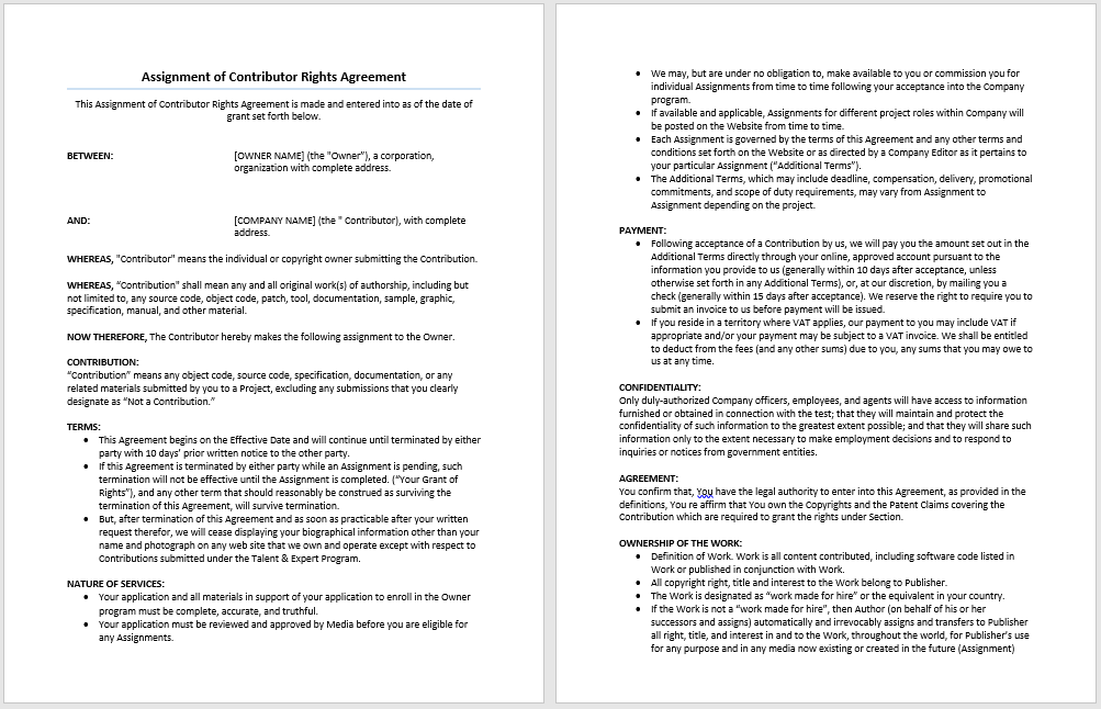 High Quality Assignment Of Contributor Rights Agreement  Agreement Templates