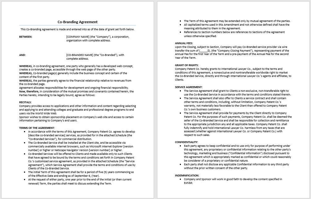 Co Branding Agreement Template Microsoft Word Templates