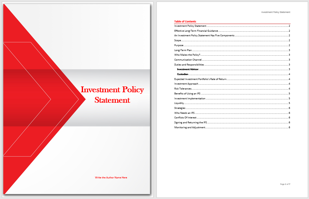 Investment Policy Statement Template - Microsoft Word Templates