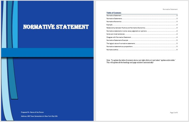 Normative Statement Template
