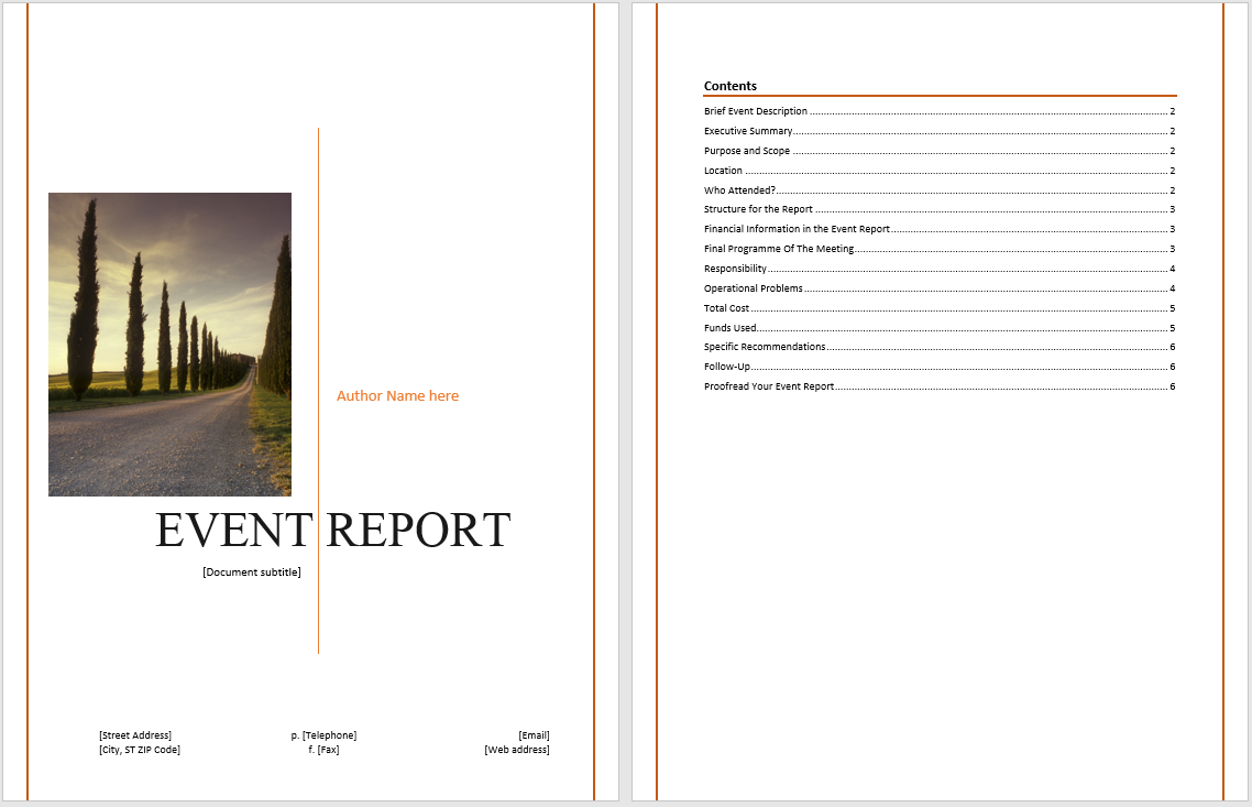 event report template
