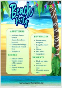 Beach Party Menu Template 01