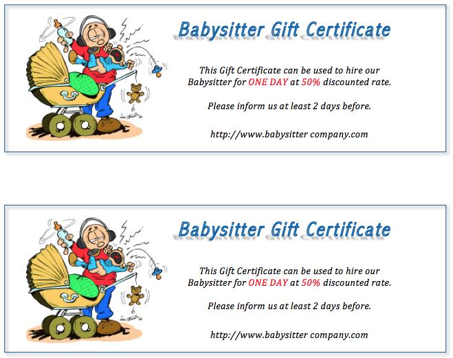 Babysitter Gift Certificate Design