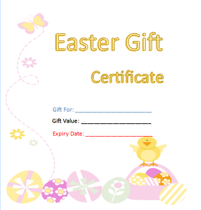 Free gift certificate templates 8 templates microsoft word easter gift certificate template negle Images