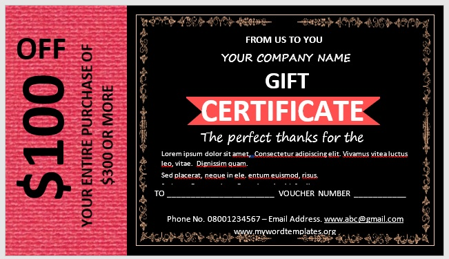 Free Gift Certificate Template 07