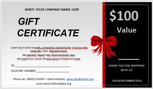 Free Gift Certificate Template 09