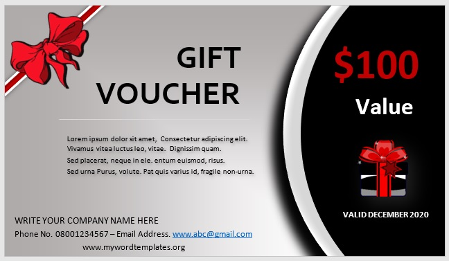 Free Gift Certificate Template 11