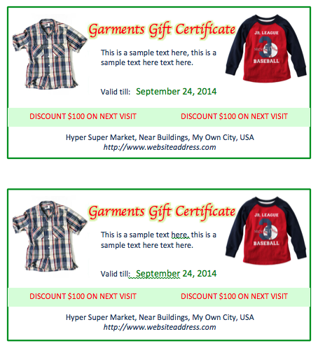 Garments Gift Certificate Template