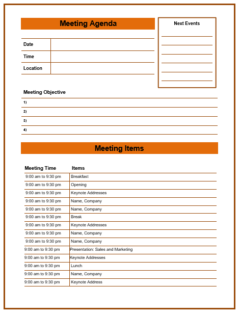 Formal Meeting Agenda Template 4