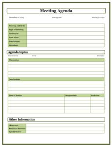 formal meeting agenda template