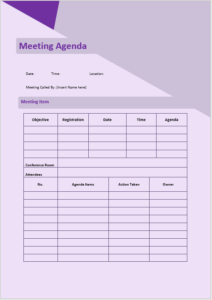 informal meeting agenda template