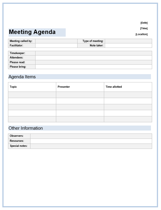 office meeting agenda template