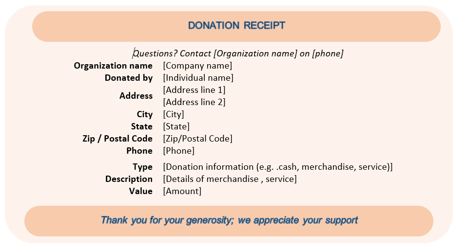 Donation Receipt Sample 01