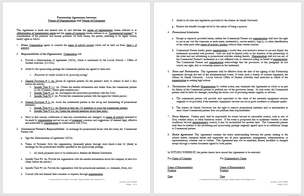 Partnership Agreement Template - MS Word 05