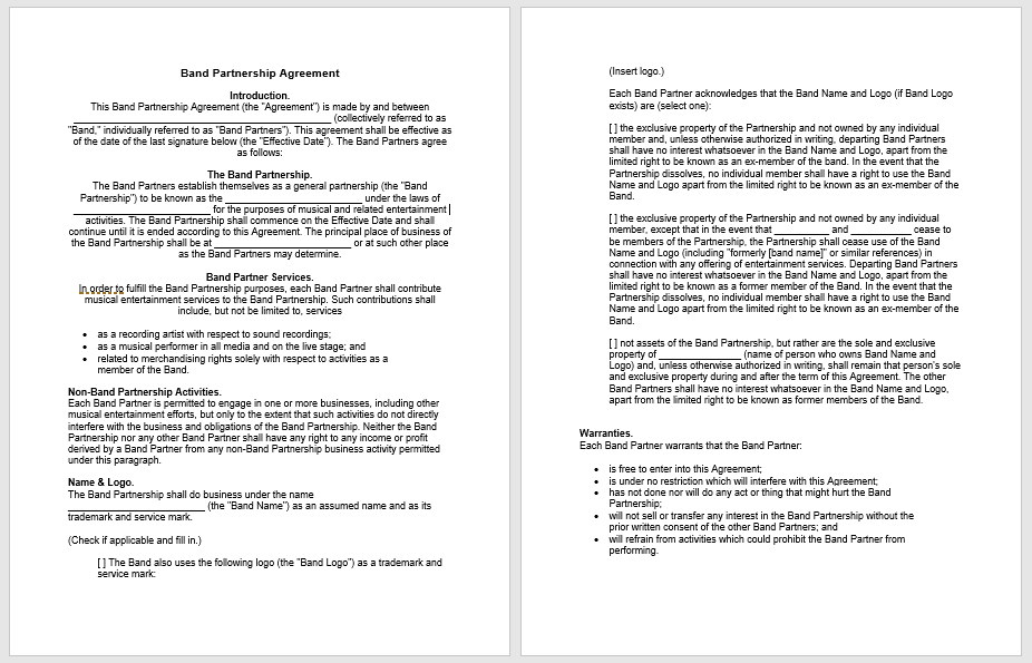 Partnership Agreement Template - MS Word 12