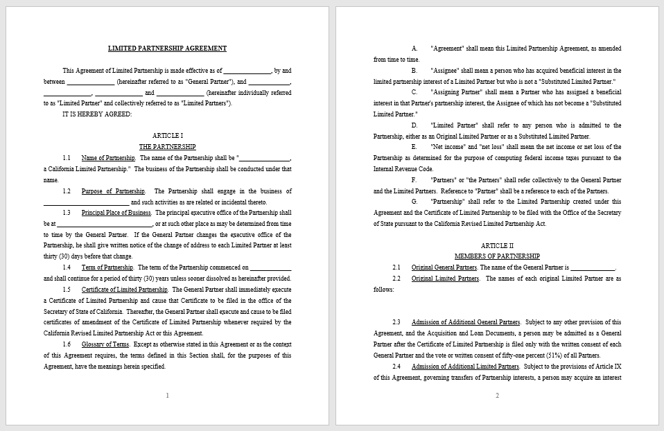 Partnership Agreement Template - MS Word 14