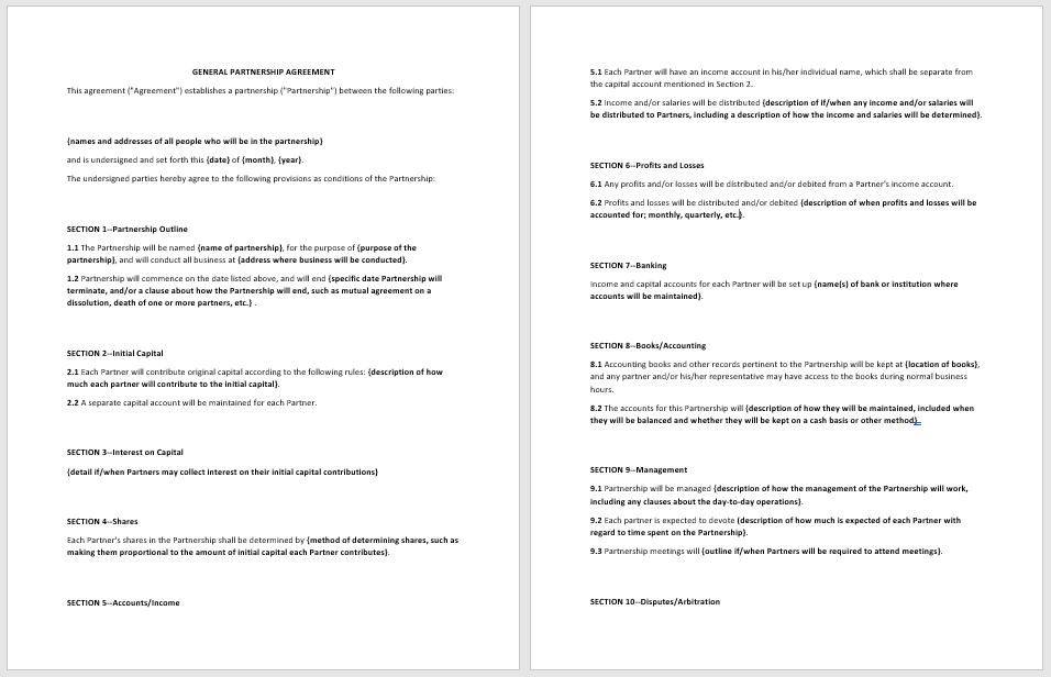 Partnership Agreement Template - MS Word 15