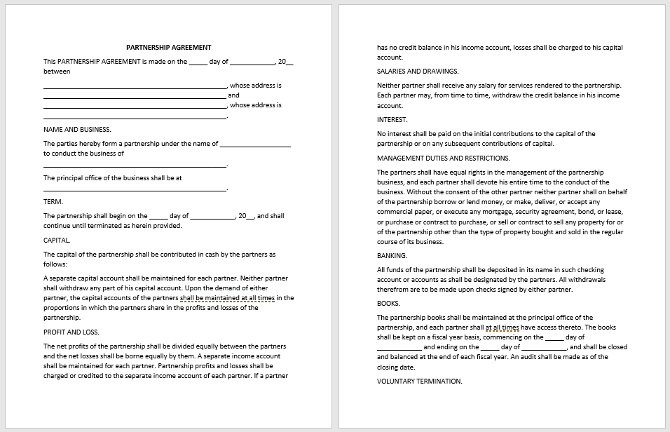 Partnership Agreement Template - MS Word 18