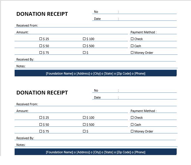 Printable Donation Receipt Template 01