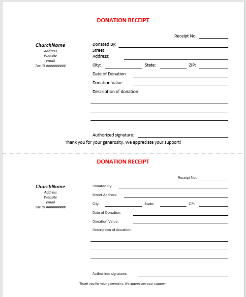 Printable Donation Receipt Template 02