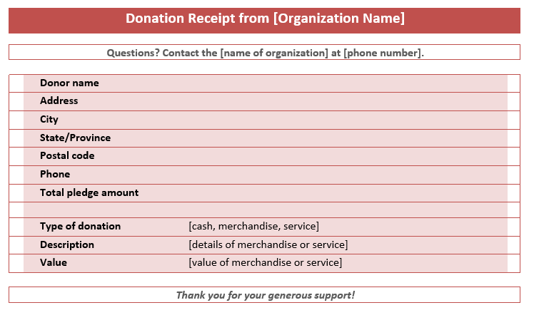 Printable Donation Receipt Template 03