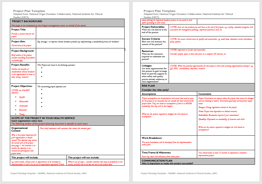 Project Plan Template 16