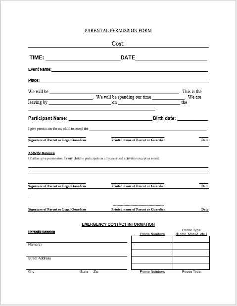 Trip Permission Slip Template 14
