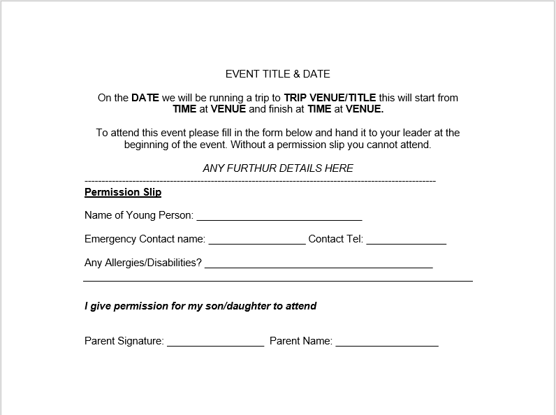 Trip Permission Slip Template 16