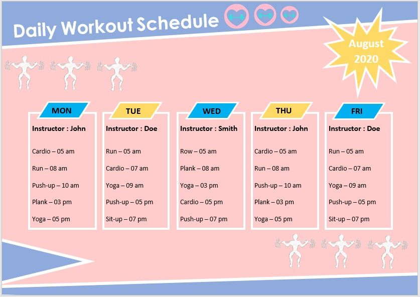 Daily Workout Schedule Template 01