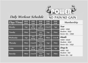 Daily Workout Schedule Template 02