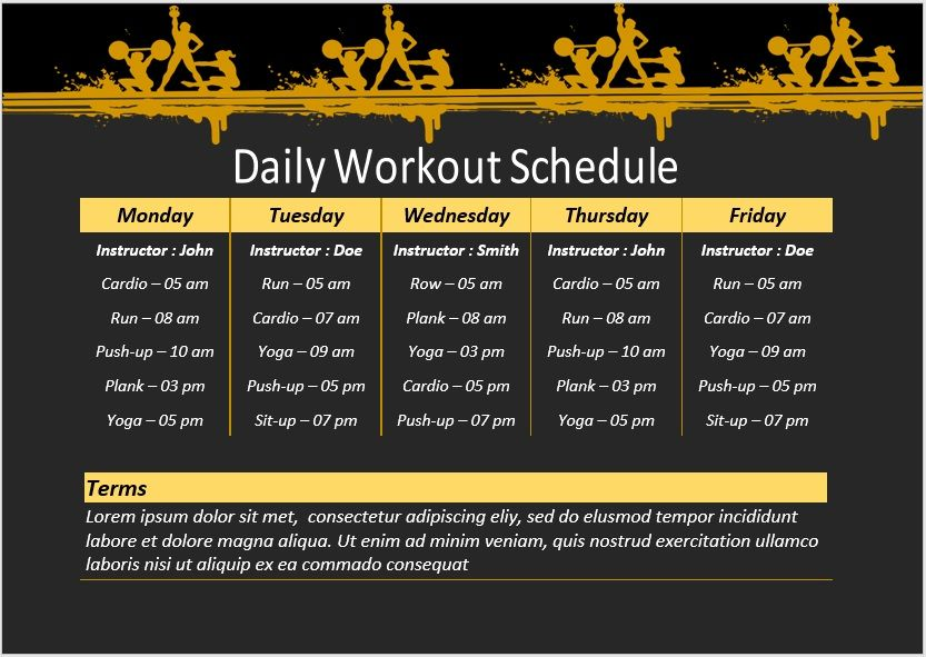 Daily Workout Schedule Template 03