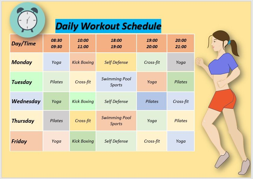 Daily Workout Schedule Template 06
