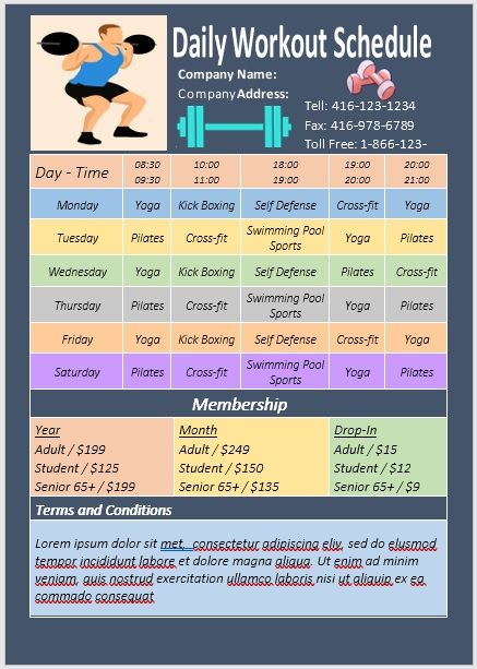Daily Workout Schedule Template 07