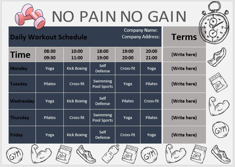 Daily Workout Schedule Template 09
