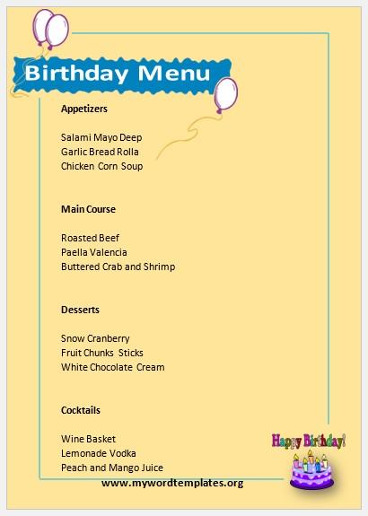 Birthday Menu Template 001