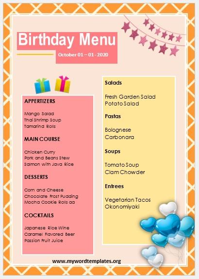 Birthday Menu Template 04