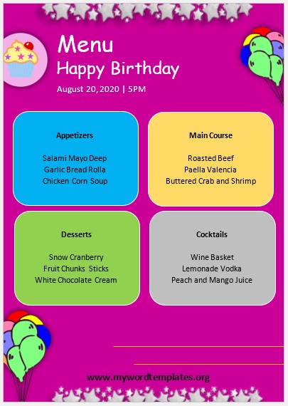 Birthday Menu Template 08