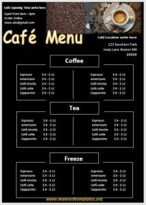 Cafe Menu Template 02