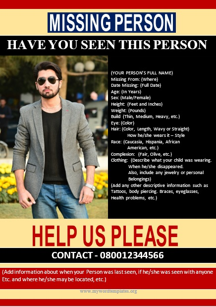 Missing Person Poster Template 03