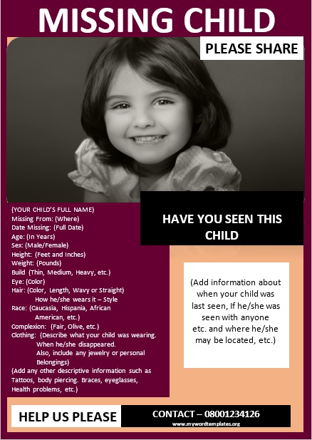 Missing Person Poster Template 04