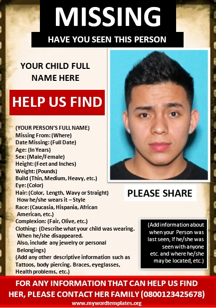 Missing Person Poster Template 09