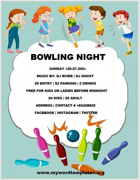 Bowling Flyer Template 04